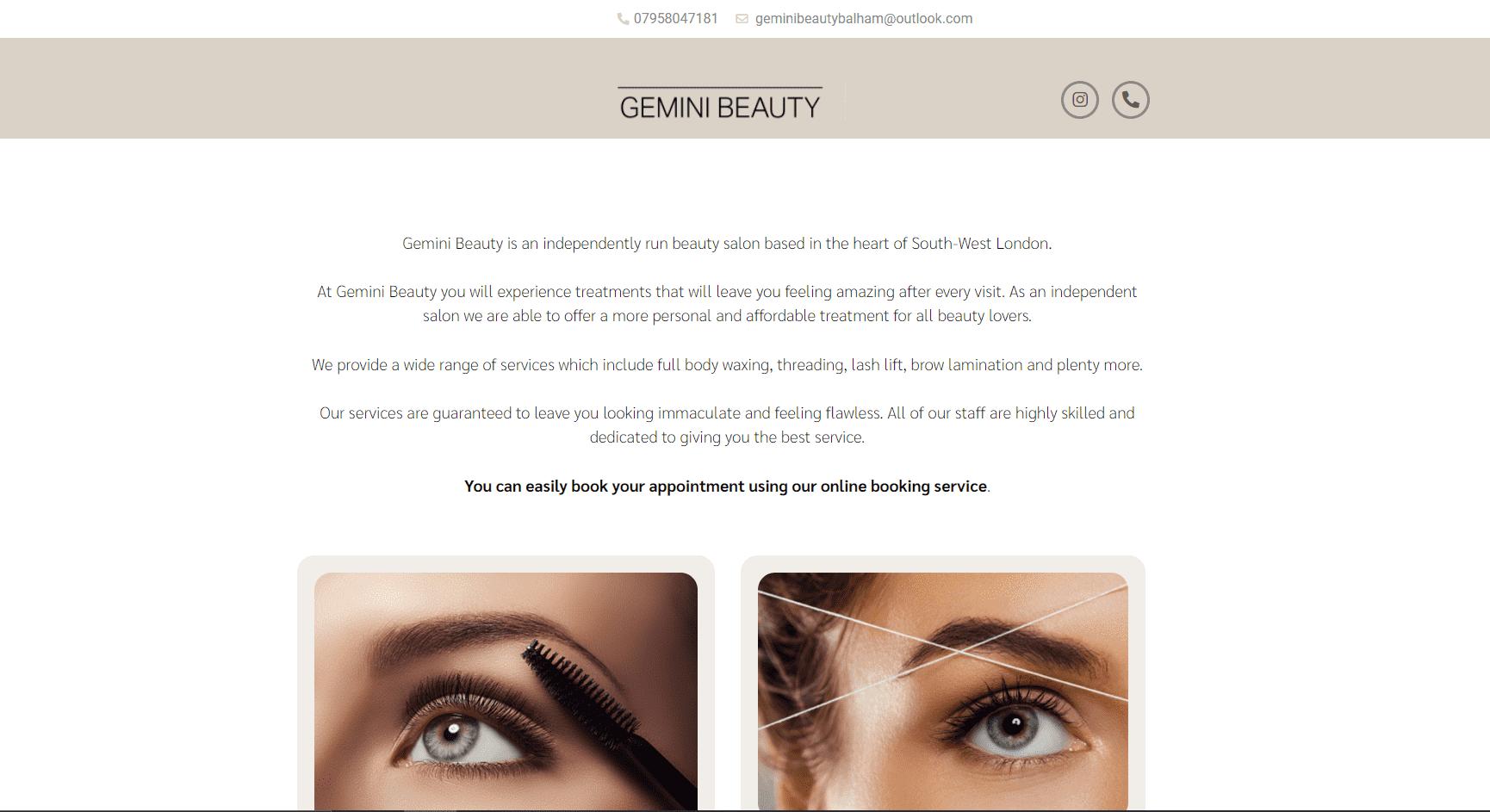 Gemini Beauty Homepage